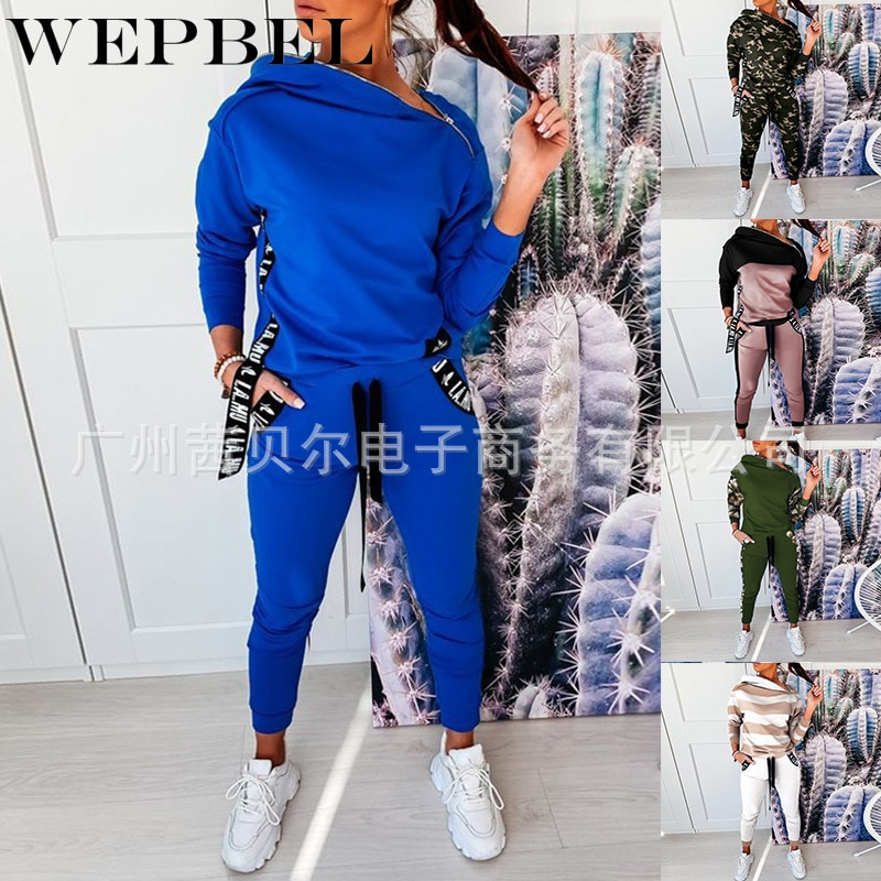 Mandylandy Woem Tracksuit Lady Spring Autumn Zipper Hooded Coat Top + Drawstring Pants Two Piece Set Sport Suit Female Outfits