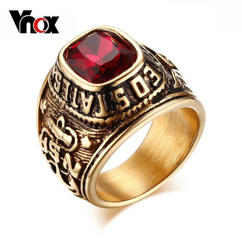 Anillo de US Navy Vnox para hombre Color dorado piedra roja anillo de veterano Etiqueta de bandera diseño emblema