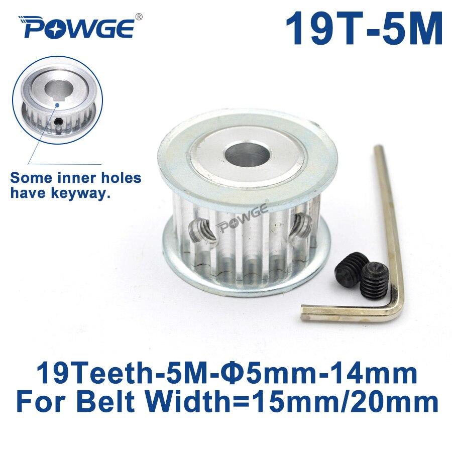 POWGE 19 שיניים HTD 5M סינכרוני עיתוי גלגלת שעמם 5/6/6.35/7/8/ 10/12/14/15/17/19/20mm עבור רוחב 15/20mm HTD5M 19 T 19 שיניים