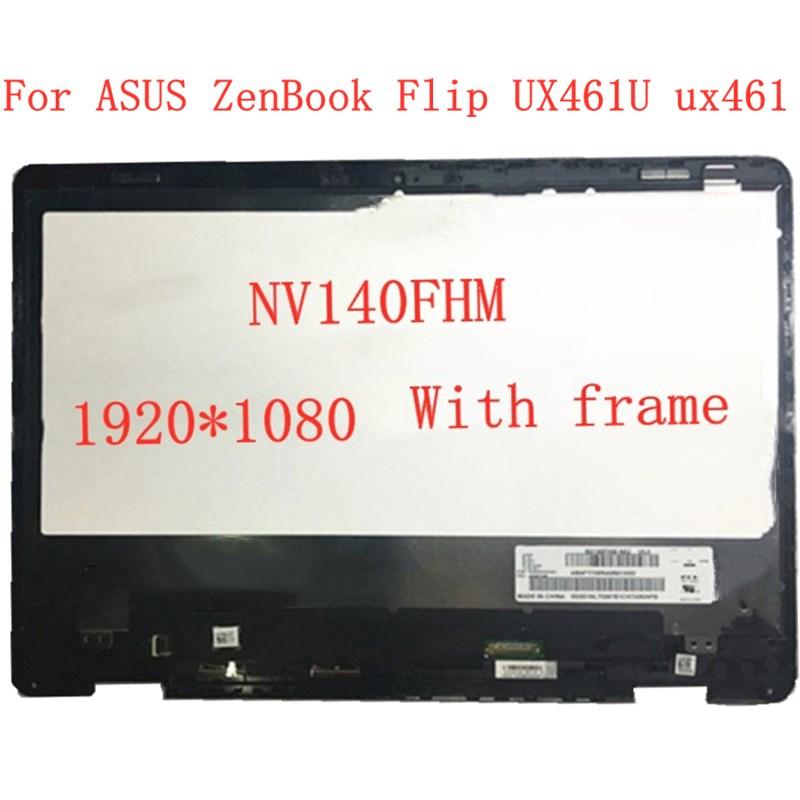 شاشة لمس lcd مقاس 14 بوصة لجهاز ASUS ZenBook ، حامل بإطار ، 1920 × 1080 ، NV140FHM ، UX461U ux461ux461ua