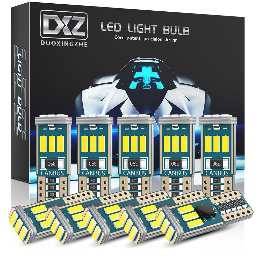 DXZ 10 шт. W5W T10 светодиодный ные лампы Canbus 9-SMD 12 в 6000K белый 194 168 автомобильные внутренние карты купольные огни парковочные огни Автоматическая ...