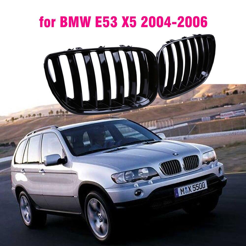 Rejillas deportivas de riñón, negras, brillo frontal, E53 para BMW, X5, 2004,...