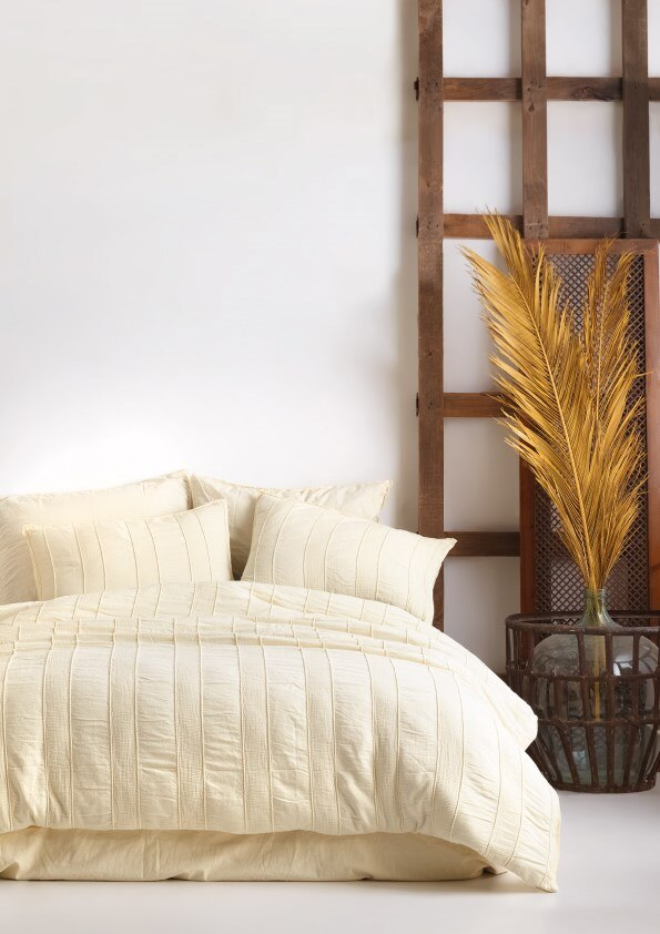 Andalusia Stonewashed Vintage Jacquard Duvet Cover Set - Cream Of Mediterranean