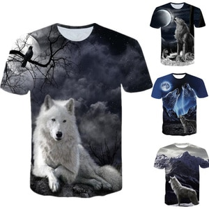 Men Wolf Printed T Shirts 2021 Summer Casual O-Neck Short Sleeve 3D T-Shirts Male Fashion Sport Top and Tees Hip Hop Streetwear