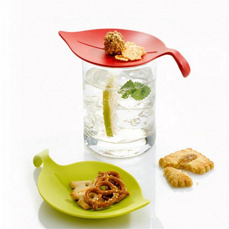 4 piezas multiusos taza cubre pequeña placa merienda plato taza tazas de té creativas herramientas salsa limón hoja tapa