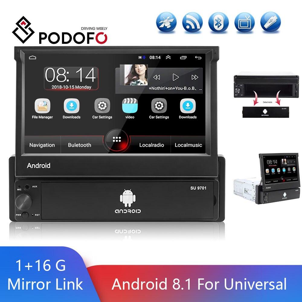 Podofo 1 الدين راديو السيارة أندرويد 8.1 العالمي قابل للسحب FM راديو GPS سيارة ستيريو DVR USB 1080P مشغل وسائط متعددة دعم الكاميرا