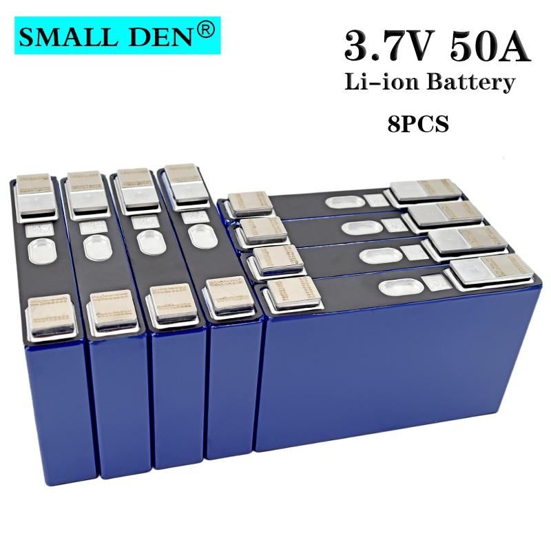8pcs 3.7v 50Ah Li-ion battery high drain power cell DIY 24v sightseeing coach LED Lighting Solar energy storage+Converted nickel