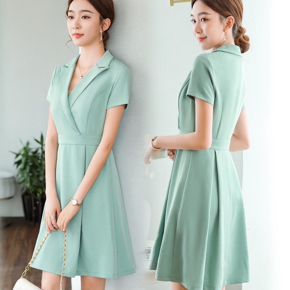 2021 summer women's Ruffle Skirt plus size apricot workplace skirt professional dress ol suit collar Short Sleeve Dress