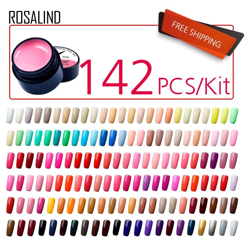 142PCS/LOT ROSALIND 5ML Painting Gel Varnish  Gel Nail Polish Set Need LED For Manicure DIY  Hybird Design Of Nail Art Primer