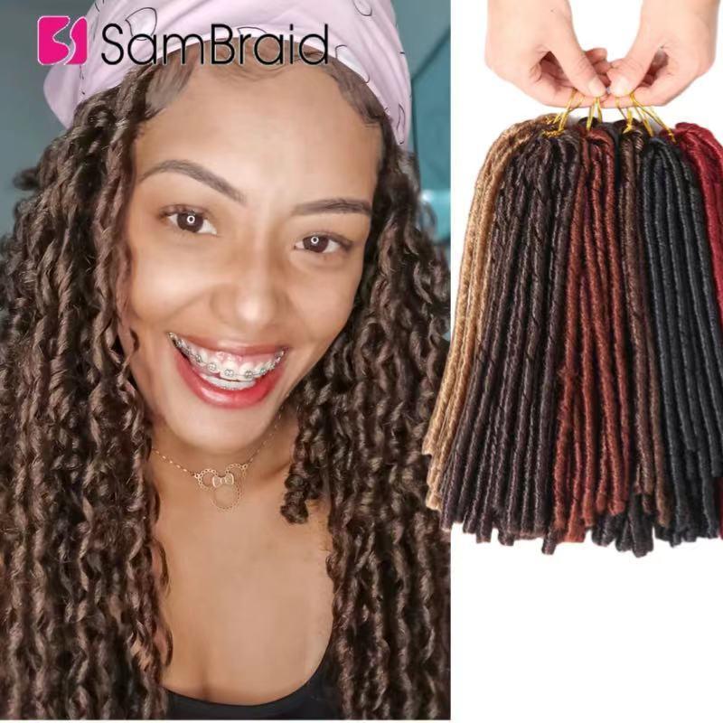 SAMBRAID 14 Inch Soft Dreadlocks Crochet Braids Faux Locs For Women Synthetic Braiding Hair Extensions Curly