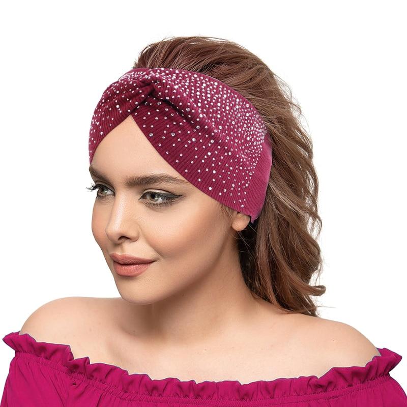 New Rhinestone Knitted Knot Cross Headband for Women Winter Girls Hair Accessories Headwear Elastic Hair Band Hair Accessories