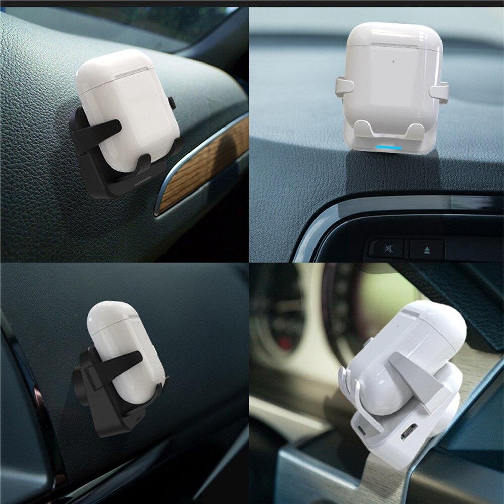 Bluetooth fone de ouvido do carro carregador sem fio com micro saída usb para airpods bluetooth suporte carregamento sem fio montar