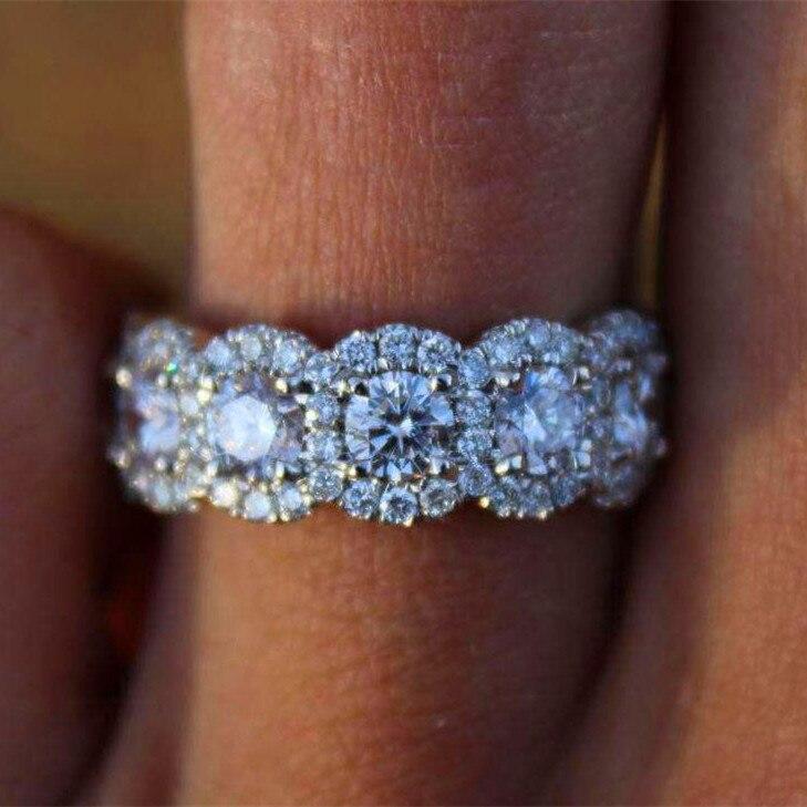 Anillo de compromiso redondo de cristal grande de lujo para mujer bonito anillo de piedra de circón de plata 925 anillos de boda Vintage para mujer