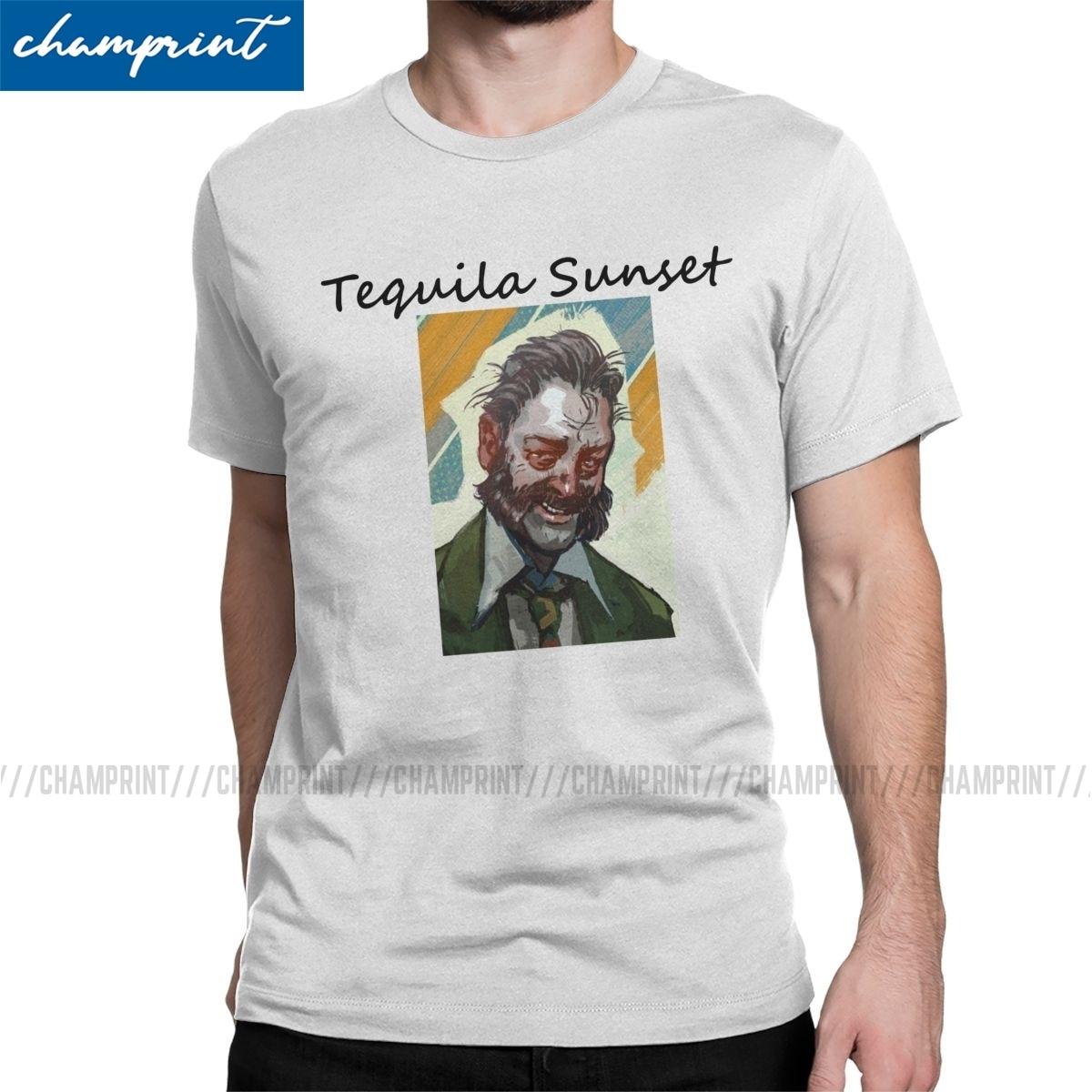 Disco Elysium Tequila Sunset T-Shirt Men Humorous Cotton Tees Round Neck Short Sleeve T Shirt Printing Tops