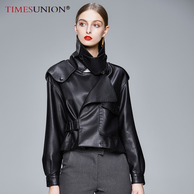 Autumn With Sashes Pu Faux Leather Jacket Women Black Zipper Slim Short Moto Biker Jackets Coat Female Outwear Tops enlarge