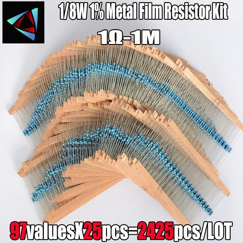 2425 Pcs 1% 1/8W 97 Value  1R~1M Ohm Metal Film Resistor  Assorted Kit Passive Components Z15 Drop ship