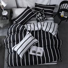 Textile de maison pour hommes/4 pièces   Ensemble de literie nordique bref, taille roi reine, linge de lit hommes femmes, rayures noires blanches, housse de couette, taie doreiller