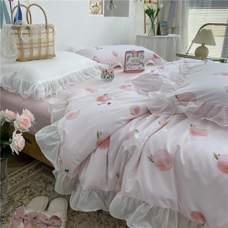5 قطعة طقم سرير الملكة الملك الفاكهة نمط الخوخ لحاف صيفي قابل للغسل تكييف الهواء لحاف المخدة حاف الغطاء المعزي مجموعة