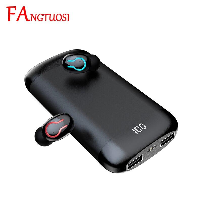 Auriculares inalámbricos FANGTUOSI Bluetooth 5,0 HI-FI estéreo música reducción de ruido en el oído con micrófono batería caja de carga