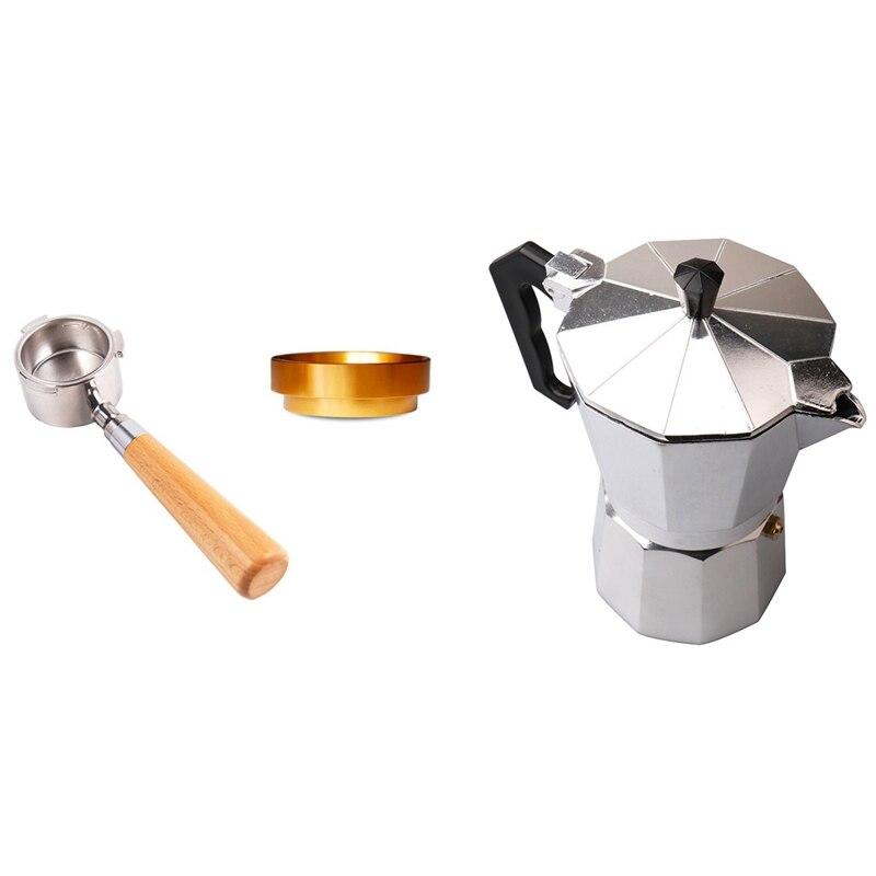 1 قطعة ماكينة صنع قهوة اسبريسو موكا آلة Percolator وعاء & 1 مجموعة 51 مللي متر استبدال فلتر مع حلقة الجرعات ، سهلة الاستخدام
