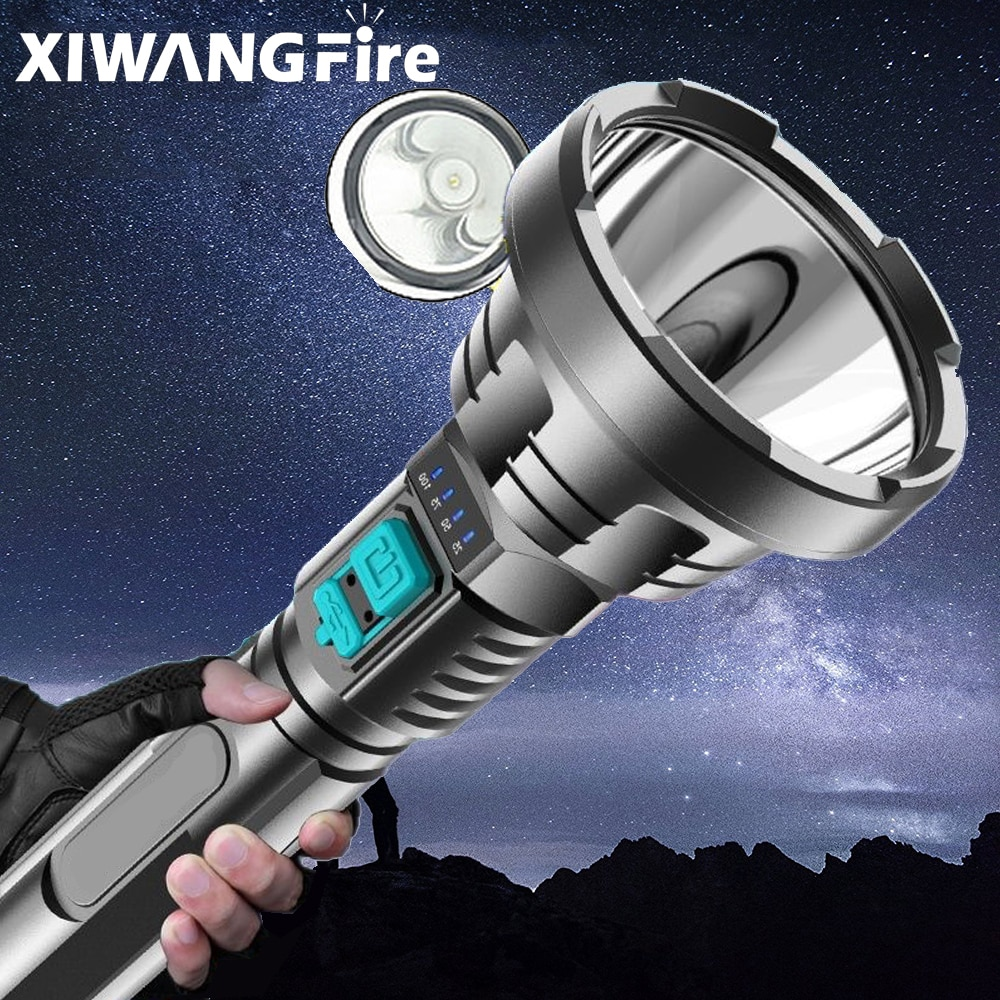 XHP50 Super Powerful LED Flashlight Tactical Torch Built-in 18650 Battery USB Rechargeable Waterproof Lamp Ultra Bright Lantern
