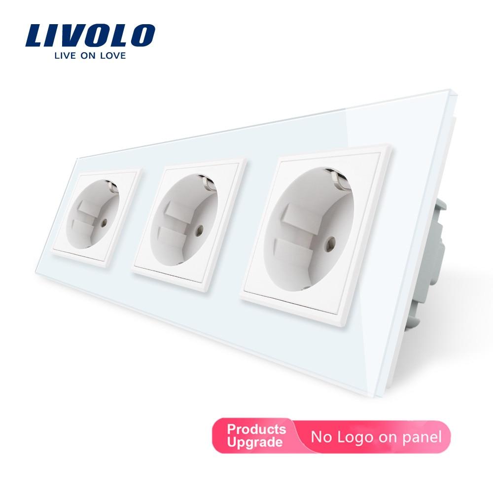 Livolo الاتحاد الأوروبي مقبس قياسي ، أسود الكريستال تشديد الزجاج منفذ لوحة ، الثلاثي جدار الطاقة مآخذ دون المكونات ، VL-C7C3EU-11