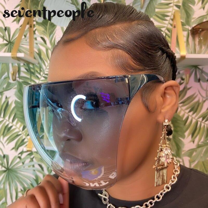 Masculino feminino face shield óculos de proteção óculos de proteção rosto cheio coberto de segurança anti-spray máscara de proteção óculos de sol de grandes dimensões