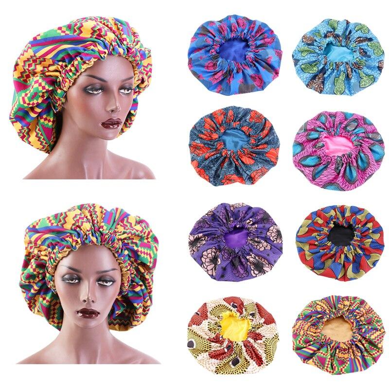 Chapéu de cetim com estampa de 38cm, capas para cabelo, estampado, feminino, para dormir, africano, noturno, para perda de cabelo acessórios