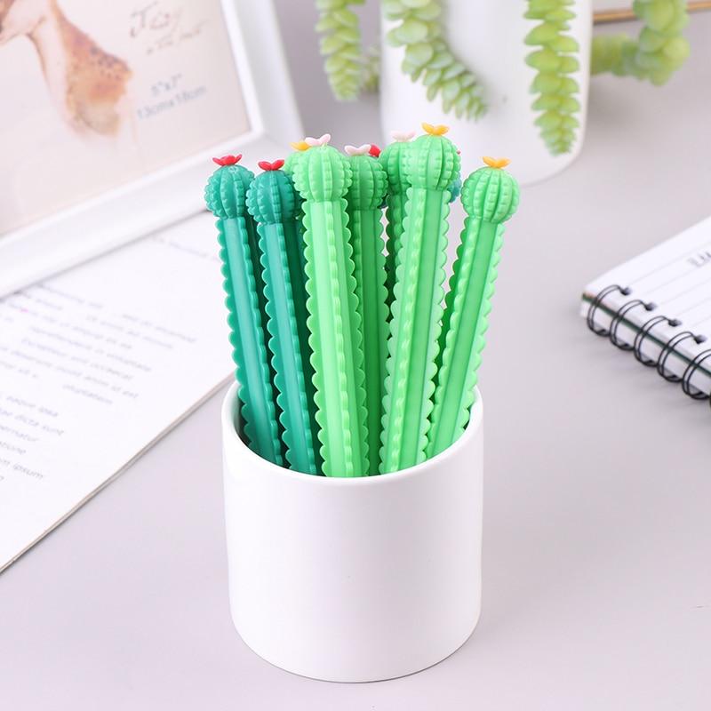 10 шт. креативная нейтральная ручка в виде цветка кактуса 0,5 мм черная искусственная офисная Канцелярия студенческие принадлежности