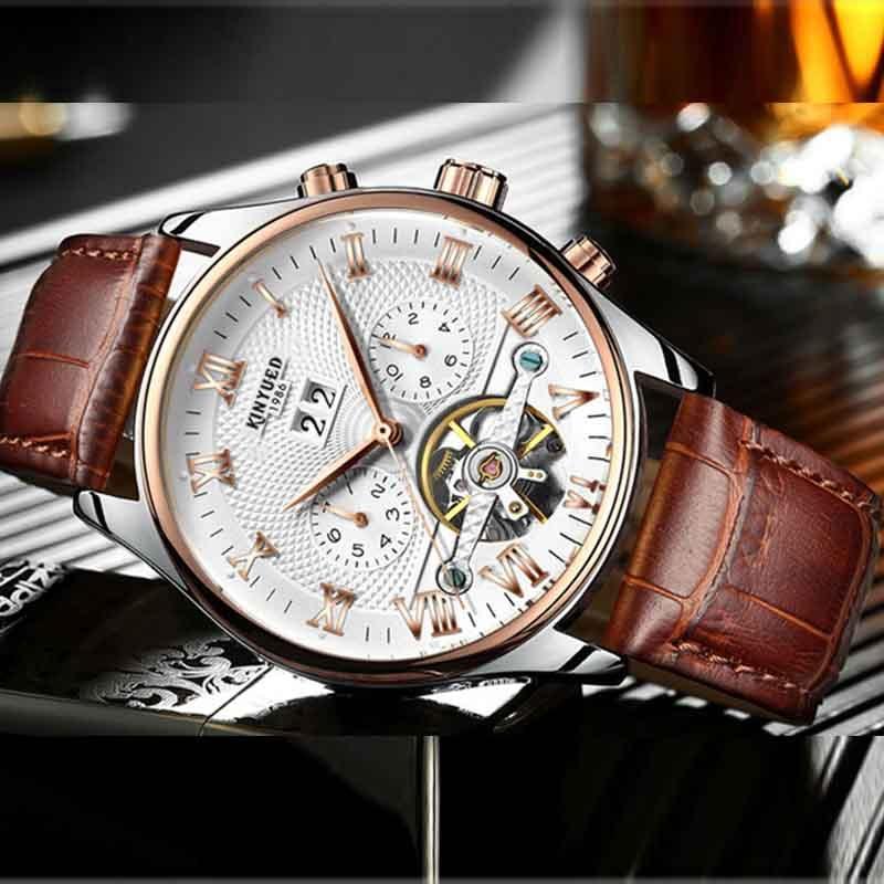 KINYUED الرجال الهيكل العظمي توربيون ساعة ميكانيكية التلقائي الكلاسيكية الوردي الذهب حزام من الجلد ساعات المعصم للرجال Reloj Hombre
