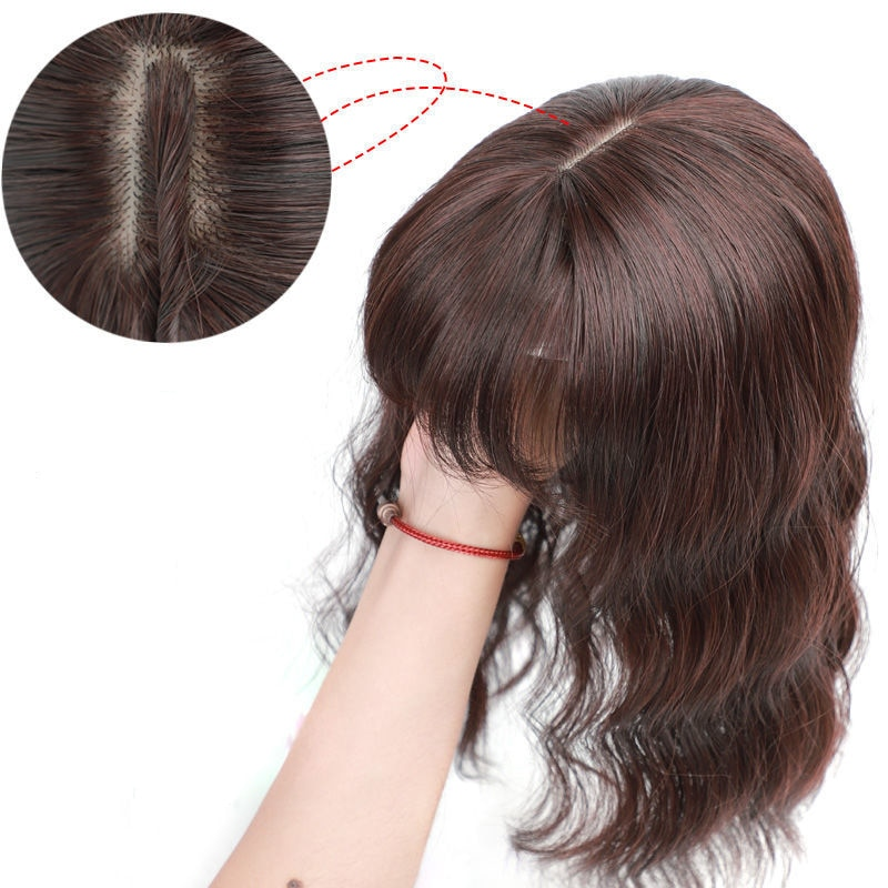 Toupee Hair Topper Closure Short Water Wave Clip In Hair Extension Black Brown Human Hair Mixed Synthetic Hair Wig For Women