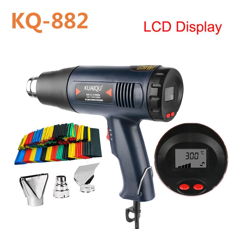 Professional Electric Hot Air Gun Temperature-controlled Building Hair dryer Heat gun Soldering Tools Adjustable + Nozzle