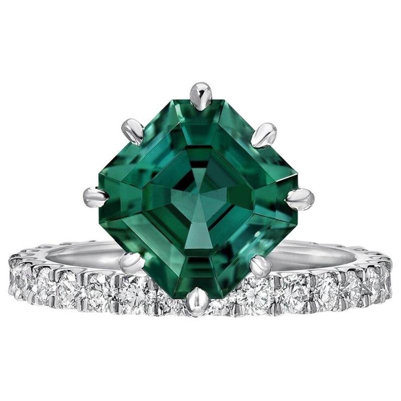 Женское Обручальное кольцо с зеленым камнем, свадебное кольцо с кристаллом из циркония, Подарок на годовщину, 2019