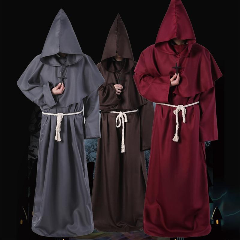 Adulto homem manto medieval monge robe cosplay trajes feiticeiro com capuz casacos longos sacerdote magia adulto traje halloween