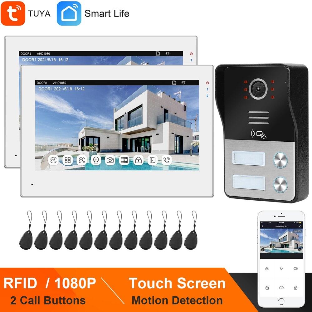 HomeFong واي فاي فيديو نظام اتصال داخلي شقة 2 وحدات تويا الحياة الذكية APP إنترفون 7 بوصة شاشة تعمل باللمس 1080P رفيد جرس باب يتضمن شاشة عرض فيديو