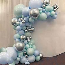 Ballons macarons bleu menthe 186 pièces   Kit arc guirlande, décorations DIY pour fête prénatale nouvel an anniversaire mariage