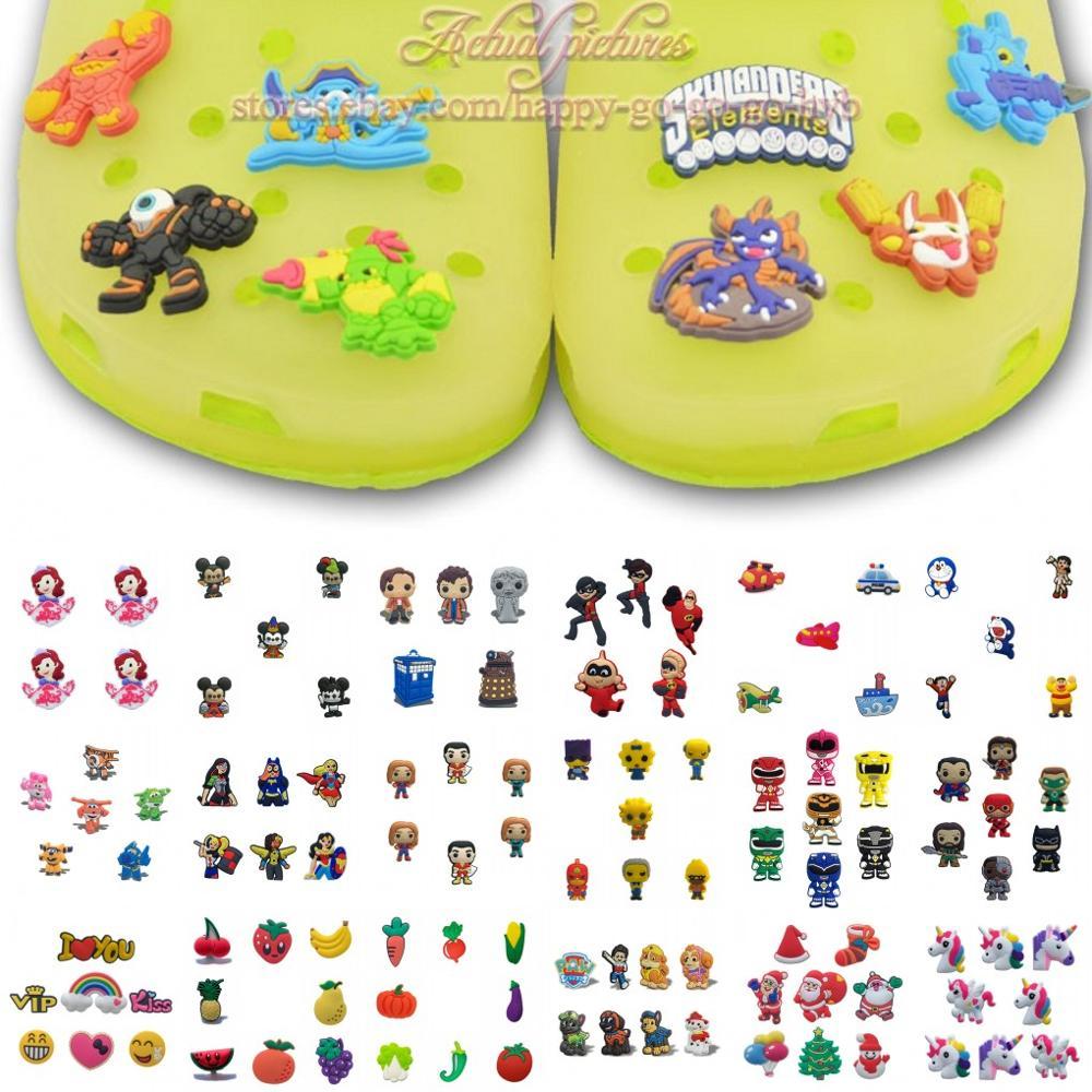 4-8 teile/satz Moana Nemo Unicorns Schuh Charms Schuh Zubehör Dekoration für Kinder croc jibz croc charms Fit Silikon bands