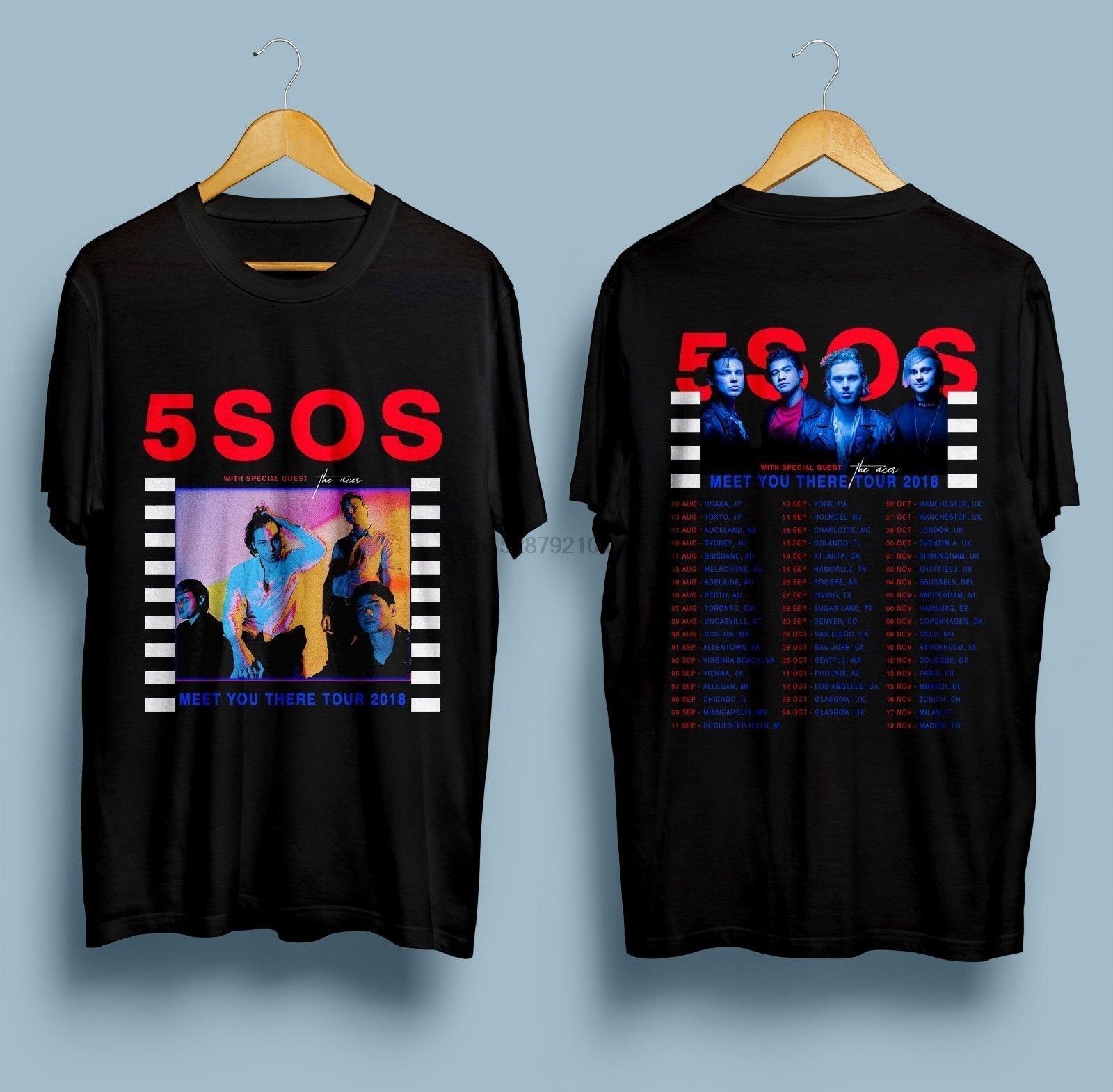 Nuevo 5 Seconds Of Summer 5Sos Meet You alla Tour Dates 2018 Camiseta talla S 3Xl hombres camiseta 2019 verano 100% algodón
