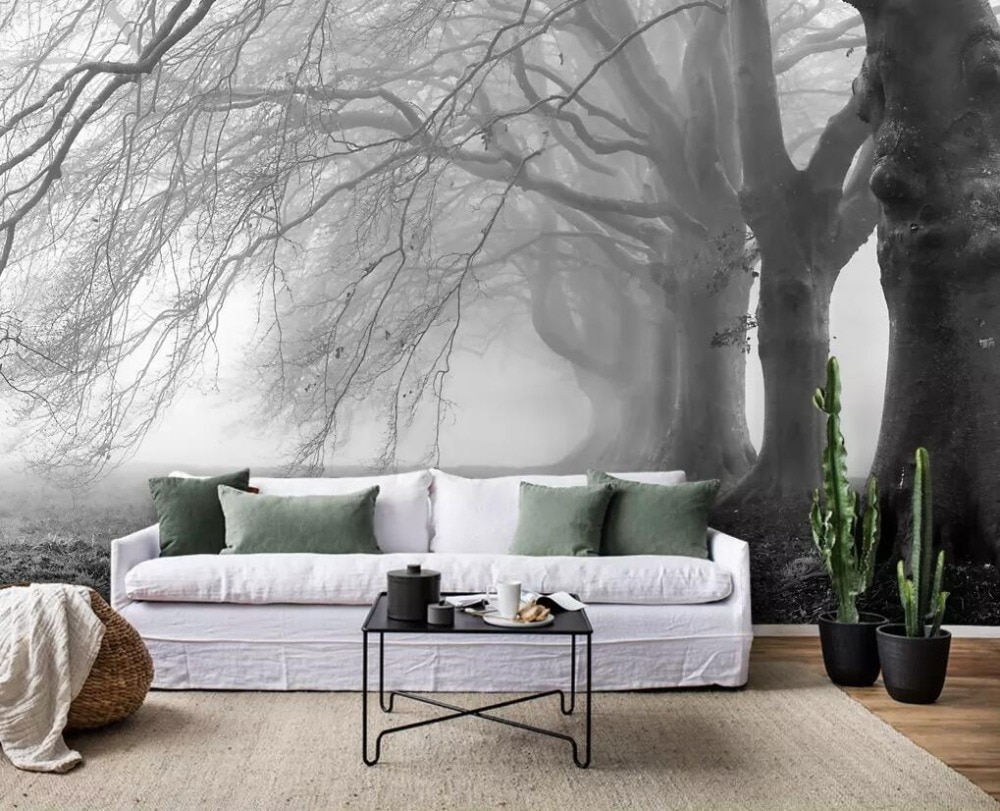 Custom mural wallpaper 3D large modern minimalist nostalgic rural style big tree forest background wall