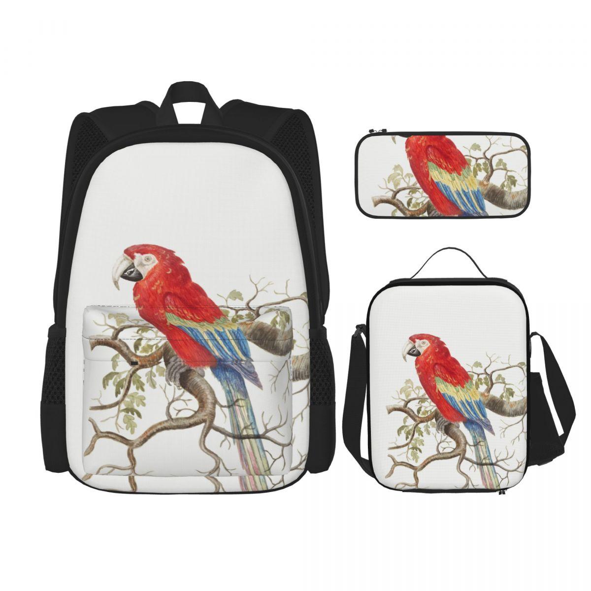 حقائب للمراهقين المدرسية القرمزي ماكاو حقيبة المدرسة خمر مجموعة حقيبة الظهر حقيبة أطفال لطيف كتاب