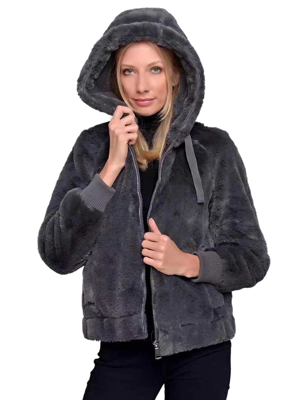 Фото - Giolshon Women Faux Fur Coat With Hood Long Sleeve Fuzzy Jacket Warm Hooded Outerwear For Spring Fall And Winter fuzzy hooded jacket