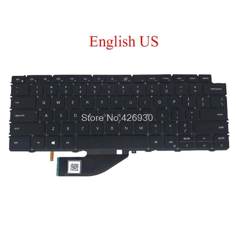 الولايات المتحدة المملكة المتحدة NE GR SW لوحة المفاتيح لديل XPS 13 7390 2-في-1 الإنجليزية الشمال ألمانيا السويسري 04J7RW 0C8WV6 0KCMJK 0G5CC0 0PGXTM جديد
