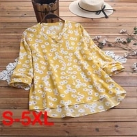 2021 spring fashion women vintage floral printed stand collar single breasted long sleeve shirt v neck loose blouse casual tops