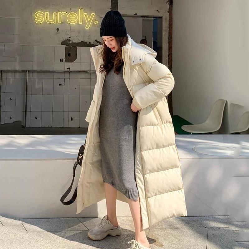 Casaco Feminino 2021 مقنعين الشتاء سترة المرأة سترة دافئة سميكة X-طويلة أسفل القطن معطف الإناث ملابس خارجية فضفاضة ملابس عصرية