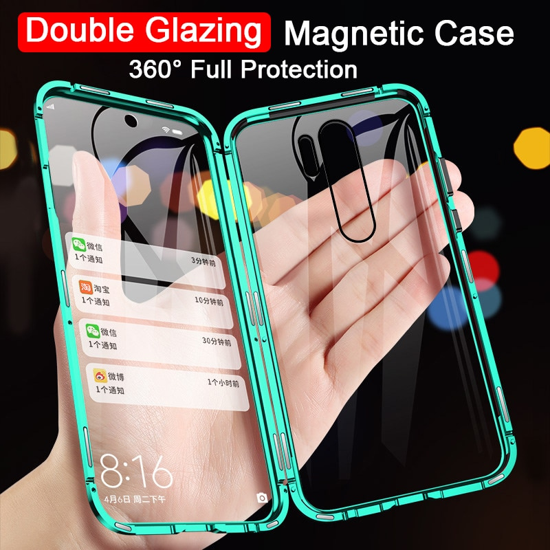 360 Double Side tempered Glass Magnetic Case For OPPO Realme 6i 5i 6 5 Pro C3 XT Reno 2 3 4 Pro 6.4