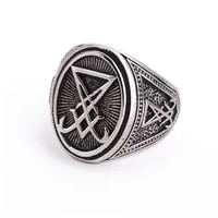secret boy seal of lucifer 316l stainless steel ring punk gothic satan unisex jewelry biker ring accessories for gift