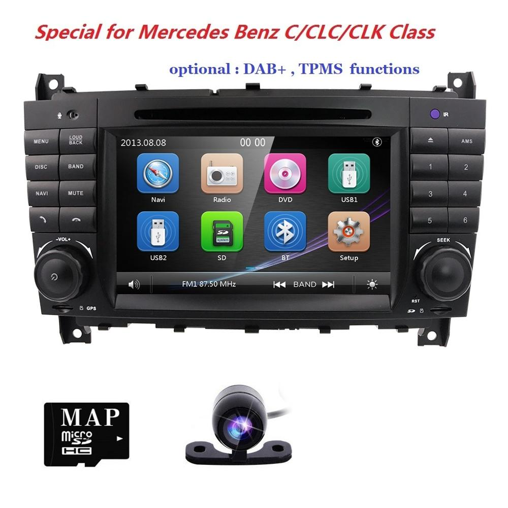 "Reproductor de DVD para coche de 7 ""para Mercedes Benz Clase C W203 2004-2007 CLC W203 2008-2010 CLK W209 2005-2011 Bluetooth, tarjeta de mapa gratis + Cámara"