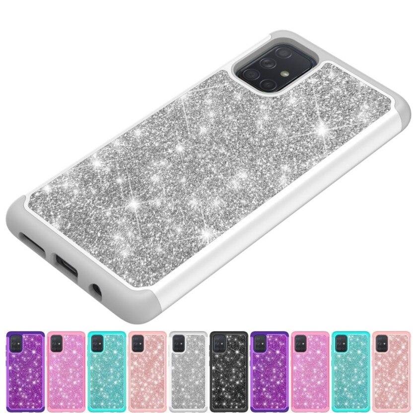 Funda de teléfono con purpurina para Samsung J7 Perx Sky Pro J720 Note10 5G S20, funda de Gel suave, 2 en 1, carcasa brillante para mujer P03F