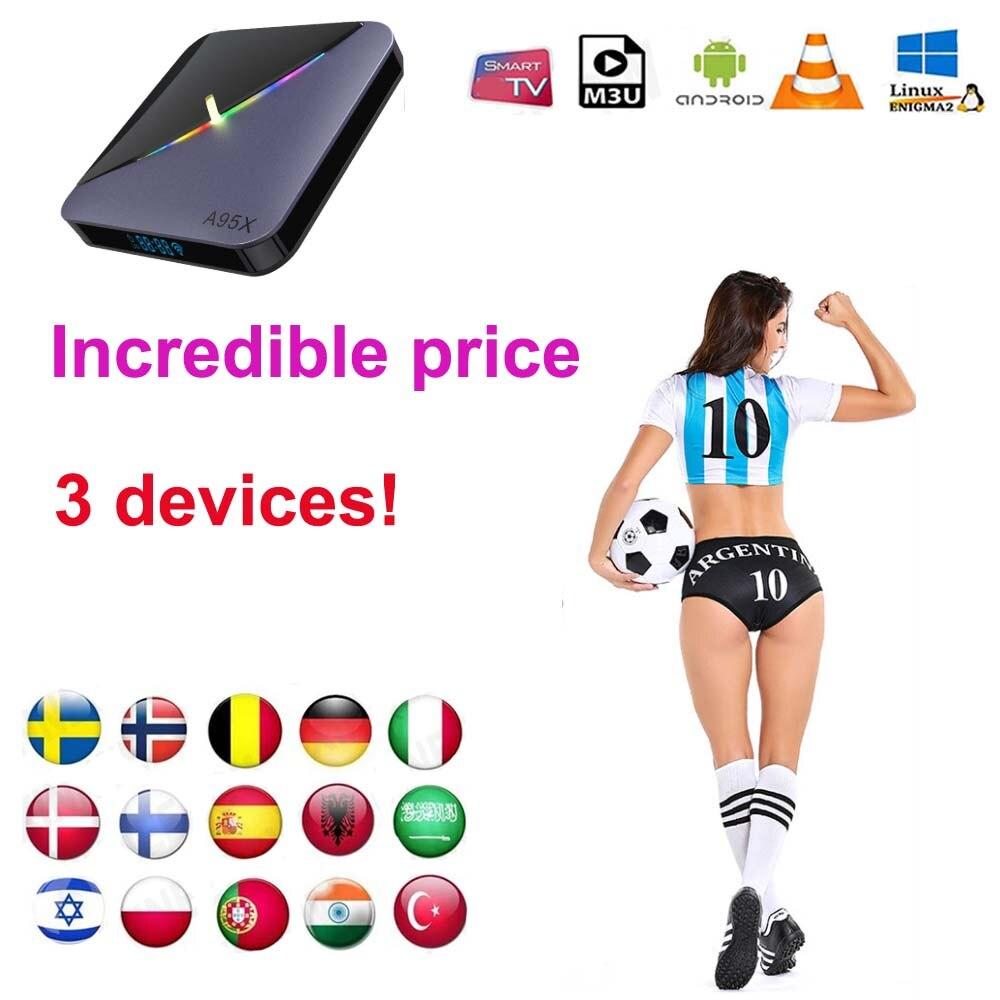 ТВ-приставка 1 год гарантии ip TV 2 устройства 3 устройства 2 подключение 3 Подключение Испания Италия m3u смарт-ТВ Android коробка без каналов включа...