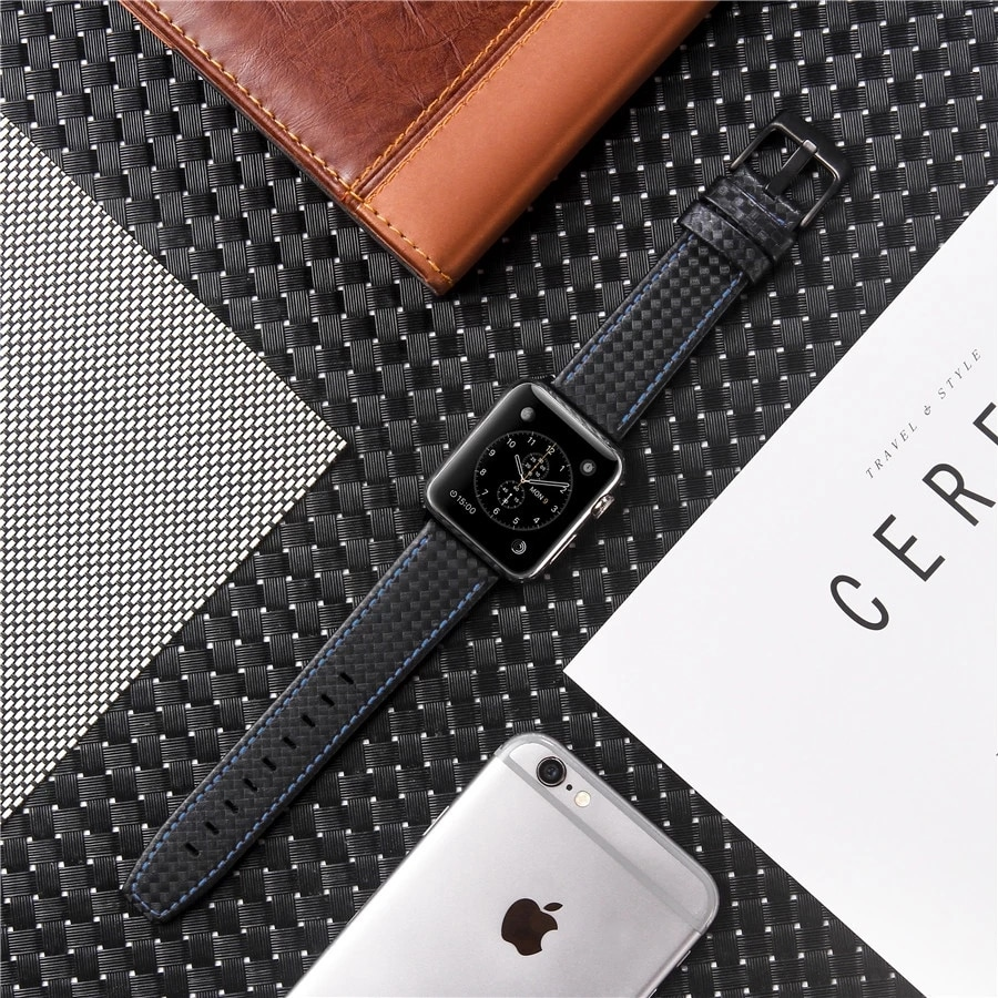 Moda de Luxo Pulseira de Fibra Couro para Apple Pulseira para Iver Carbono Assistir Série 4 3 2 se Moda 38 42 40 44 mm Banda 6 5